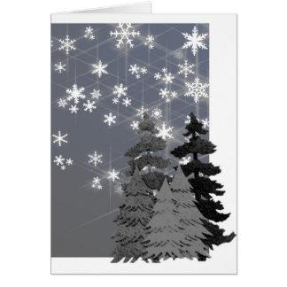 Árboles, tarjeta de nota nevosa del navidad de la