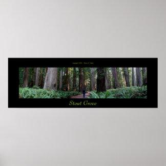 Árboles valientes de la secoya de la arboleda póster