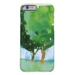 árboles verdes de la acuarela funda de iPhone 6 barely there