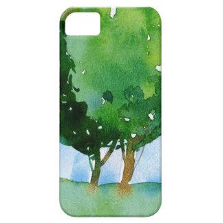 árboles verdes de la acuarela funda para iPhone SE/5/5s