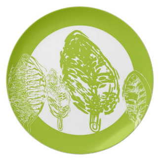 Árboles verdes (hojas) - placa plato para fiesta