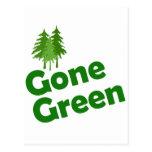 árboles verdes idos tarjeta postal