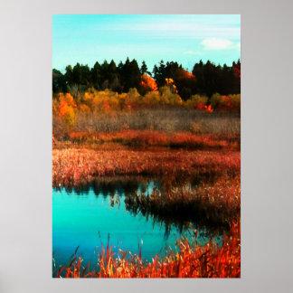 Árboles y agua del otoño en Terranova Canadá Póster