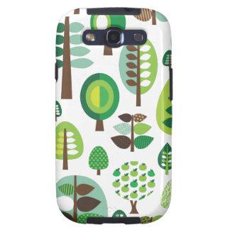 Árboles y caja retros verdes de Samsung de las pla Galaxy S3 Cobertura