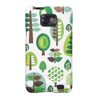 Árboles y caja retros verdes de Samsung de las pla Galaxy S2 Fundas