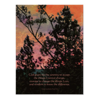 Árboles y cielo del rezo de la serenidad póster