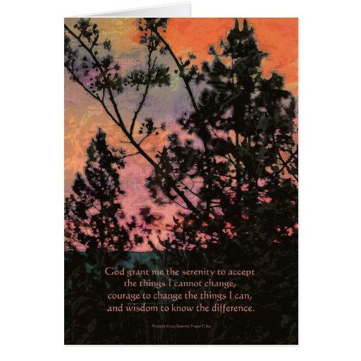 Árboles y cielo del rezo de la serenidad tarjeta de felicitación