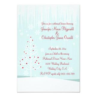 Árboles y copos de nieve del invierno que casan la invitaciones personalizada