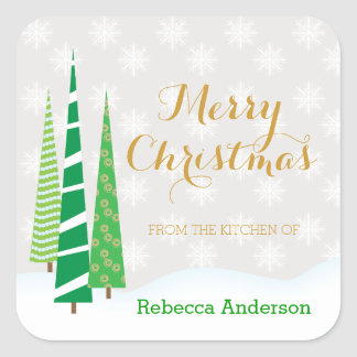 Árboles y el cocer de las Felices Navidad de los Pegatina Cuadrada