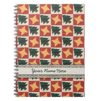 Árboles y estrellas acolchados de pino libro de apuntes con espiral