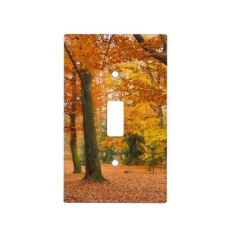 Árboles y hojas amarillos y rojos del otoño tapas para interruptores
