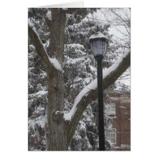 Árboles y lamppost del invierno en RPI Tarjeta De Felicitación