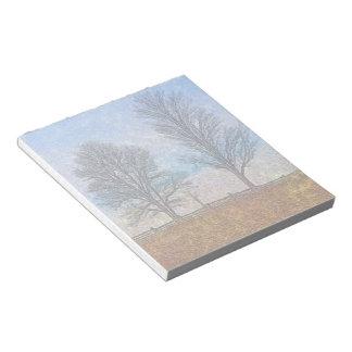 Árboles y libreta rurales del arte de la bloc de notas