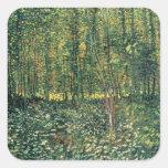 Árboles y maleza, 1887 pegatina cuadrada