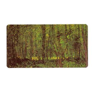Árboles y maleza de Vincent van Gogh Etiqueta De Envío