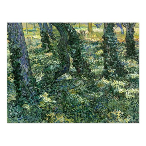 Árboles y maleza de Vincent van Gogh Postales