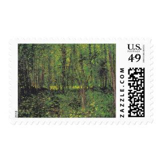 Árboles y maleza por el franqueo de Van Gogh Sellos