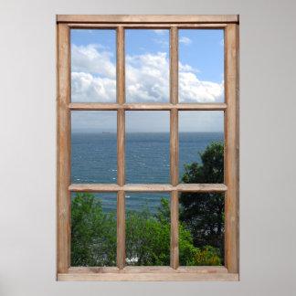 Árboles y opinión del mar de una ventana poster