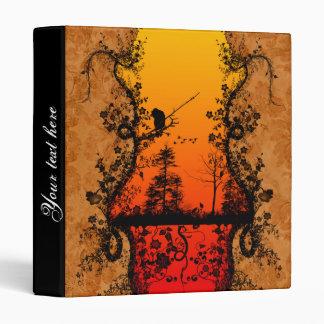 """Árboles y pájaros en fondo rojo, de oro carpeta 1"""""""