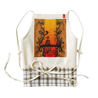 Árboles y pájaros en fondo rojo, de oro delantal zazzle HEART