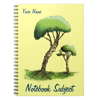 Árboles y un pájaro spiral notebooks
