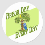 Arbor day every day round stickers