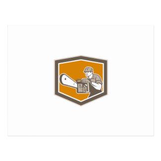 Arborist Lumberjack Operating Chainsaw Shield Post Card