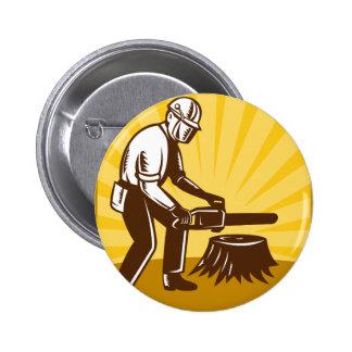 arborist tree surgeon chainsaw retro button