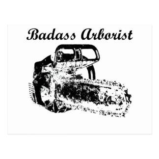 Arborista de Badass - motosierra Postales