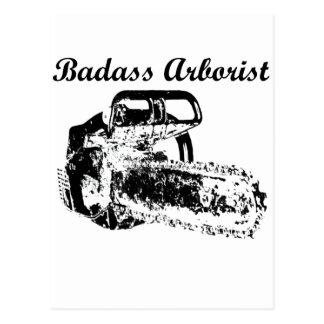 Arborista de Badass - motosierra Tarjetas Postales