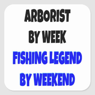 Arborista de la leyenda de la pesca pegatinas cuadradases personalizadas
