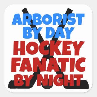 Arborista del amante del hockey calcomanía cuadradas personalizadas