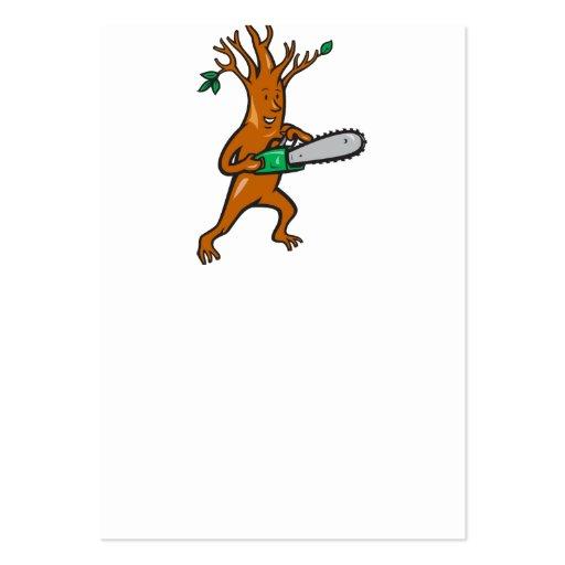 Arborista del hombre del árbol con la motosierra tarjetas de visita grandes