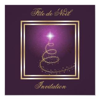 """Arbre de Noël Abstrait pourpre invitation 5.25"""" Square Invitation Card"""