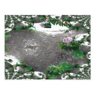 Arbustos rosados remontados fractal postal