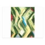 Arbustos y arbustos verdes en colores pastel postal
