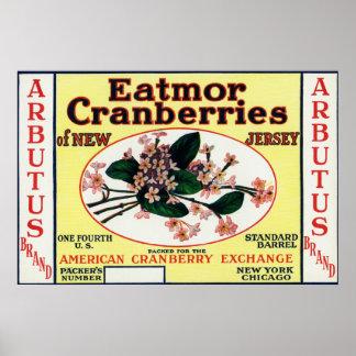 Arbutus Eatmor Cranberries Brand Posters