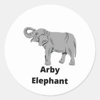ARBY ELEPHANT CLASSIC ROUND STICKER