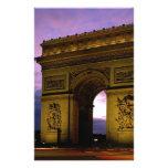 arc de triomphe at dusk, paris, france stationery paper