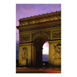 arc de triomphe at dusk, paris, france stationery