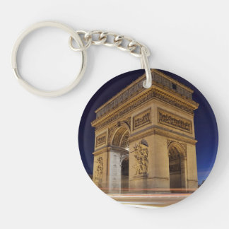 Arc De Triomphe at night Single-Sided Round Acrylic Keychain