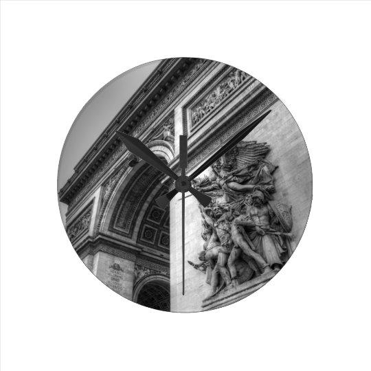 Arc de Triomphe b/w Round Clock