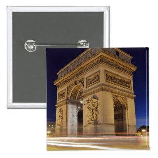 Arc de Triomphe de l Étoile in Paris night shot Button