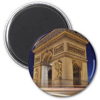 Arc de Triomphe de l Étoile in Paris night shot Fridge Magnets