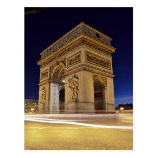 Arc de Triomphe de l'Étoile in Paris night shot Postcard