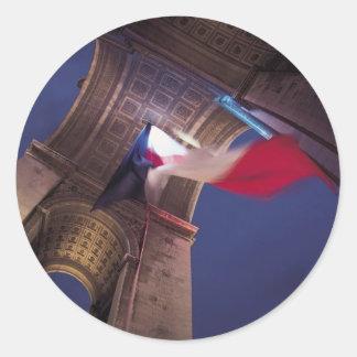 Arc de Triomphe French Flag Round Sticker