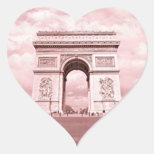 Arc de Triomphe, Paris in Pink France Heart Sticker