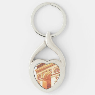 Arc de Triomphe Silver-Colored Heart-Shaped Metal Keychain