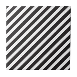 Arc Stripes Diagonal Black & White Pattern Ceramic Tile