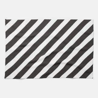 Arc Stripes Diagonal Black & White Pattern Hand Towel